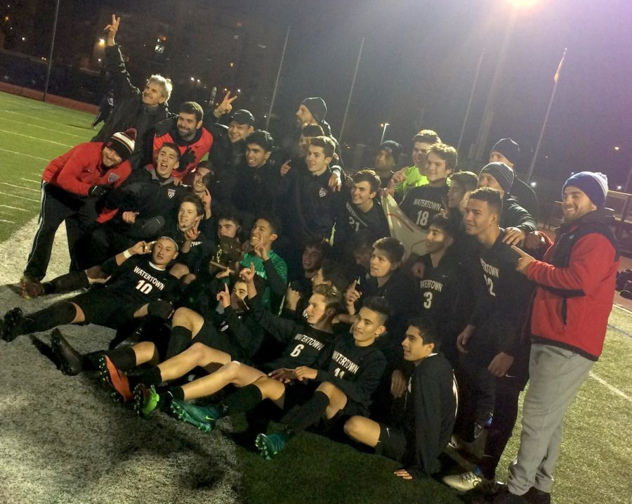 The+Watertown+High+boys%27+soccer+team+poses+with+the+MIAA+trophy+after+winning+the+Division+3+North+crown+on+Sunday+night%2C+Nov.+12%2C+2017%2C+at+Manning+Field+in+Lynn.