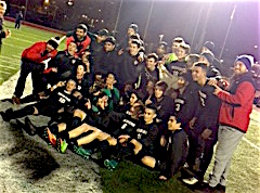 The Watertown High boys' soccer team poses after winning the Division 3 North crown on Sunday night, Nov. 12, 2017, at Manning Field in Lynn.