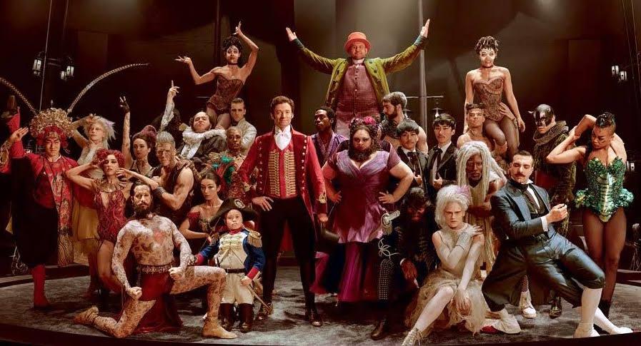 Hugh Jackman (center) plays P.T. Barnum in