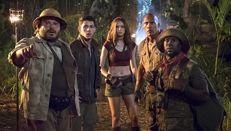 Jack+Black%2C+Nick+Jonas%2C+Karen+Gillan%2C+Dwayne+Johnson%2C+and+Kevin+Hart+%28left+to+right%29+star+in+%22Jumanji%3A+Welcome+to+the+Jungle%22.