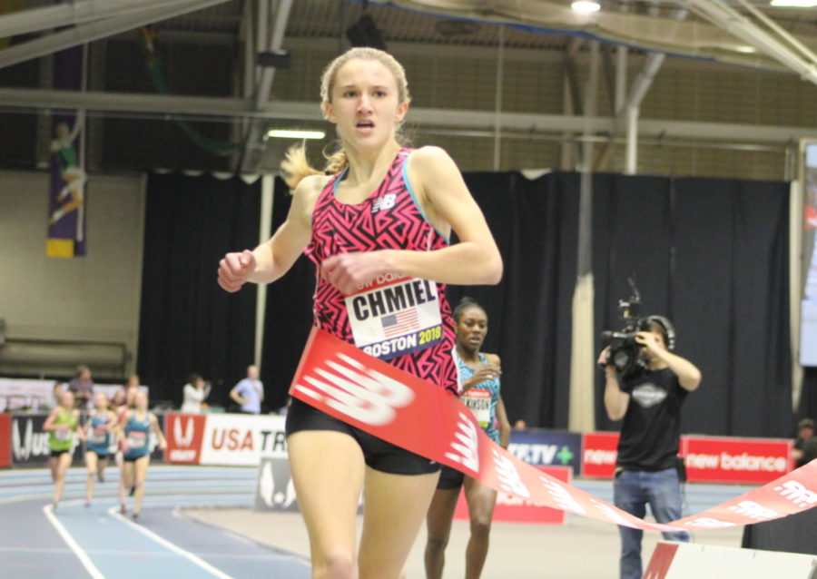 Kelsey Chmiel beats Gabrielle Wilkinson to the tape to win the Girls' Junior Mile, one of the events for younger runners during the 2018 New Balance Indoor Grand Prix at Reggie Lewis Center in Boston on Feb. 10, 2018.