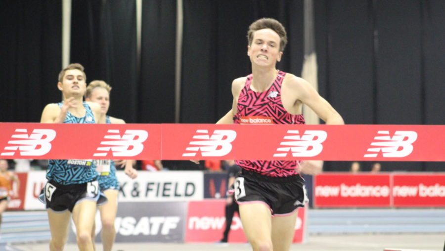 Dalton+Hengst+heads+for+the+tape+to+win+the+Boys%27+Junior+Mile%2C+one+of+the+events+for+younger+runners+during+the+2018+New+Balance+Indoor+Grand+Prix+at+Reggie+Lewis+Center+in+Boston+on+Feb.+10%2C+2018.+