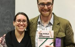 Author, educator, and Watertown High alum Greg Beach (right) poses with WHS English teacher (and classmate) Jessica DePamphilis during his Nov. 21, 2017, visit to his alma mater.