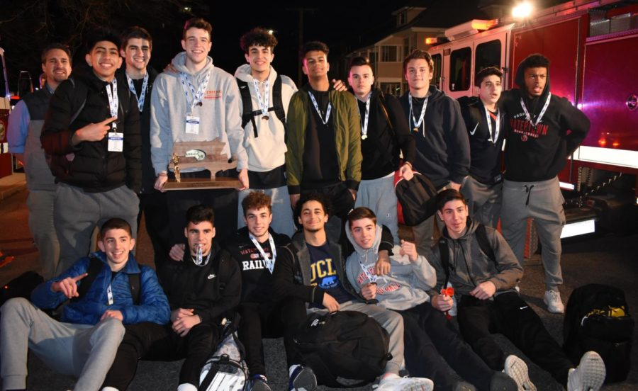 The state champion Raiders pose after returning to Watertown on March 17, 2018.