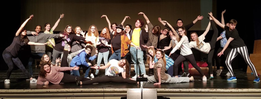 The+cast+of+%22Pippin%22+takes+a+break+from+rehearsal+to+pose+for+a+picture.+The+cast+will+be+on+the+Watertown+High+stage+for+real+for+three+shows%2C+March+15-17%2C+2018%2C+with+curtain+each+night+at+7+p.m.+