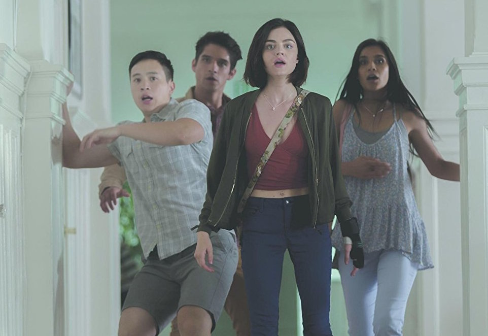 Hayden Szeto, Tyler Posey, Lucy Hale, and Sophia Ali in a scene from