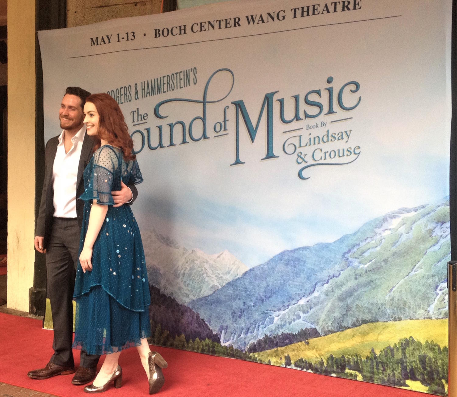 Jill-Christine Wiley (Maria) and Mike McLean (Captain von Trapp) on the red carpet outside Boch Center in Boston.