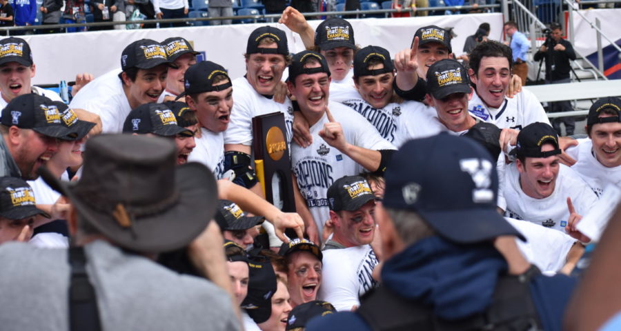 Members of the Yale lacrosse team can't hide their feelings after beating Duke, 13-11, to win the NCAA Division 1 lacrosse title at Gillette Stadium on May 28, 2018.