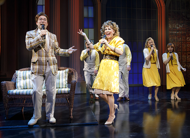 """Chaz Pofahl as Jim Bakker (left) and Kirsten Wyatt as Tammy Faye Bakker (center) in """"Born For This"""" at Emerson Cutler Majestic Theatre through July 15, 2018."""