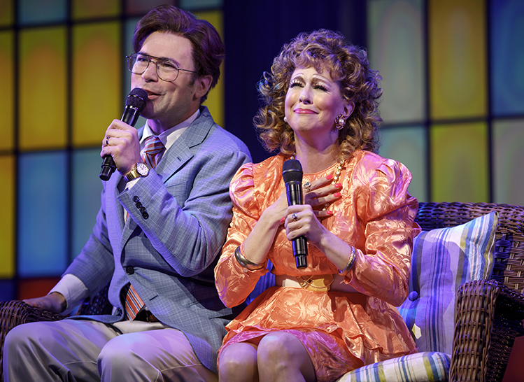 Chaz Pofahl as Jim Bakker and Kirsten Wyatt as Tammy Faye Bakker in Born For This at Emerson Cutler Majestic Theatre through July 15, 2018.