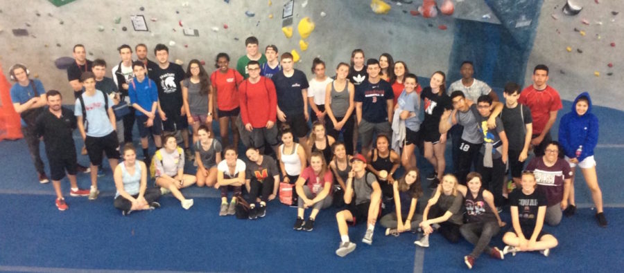 Adam Joyce's Project Adventure class from Watertown High School poses for a picture during its visit to the Central Rock Gym climbing facility in Watertown on May 8, 2018.