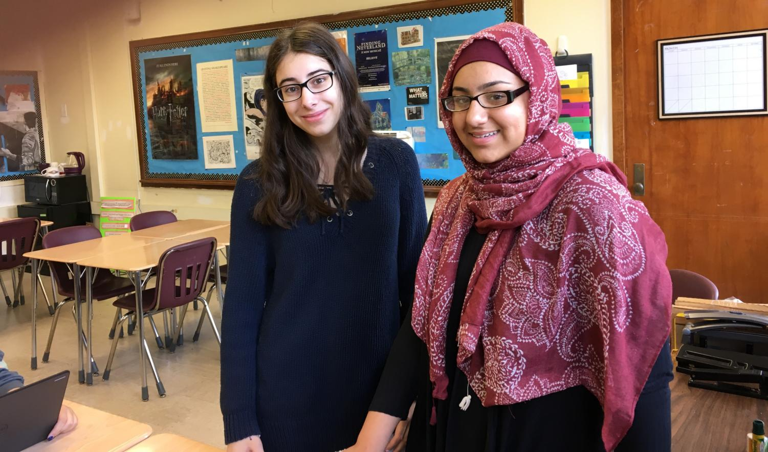 Watertown High School juniors Melanne Ghahraman (left) and Hina Rafiq are leading a school supply  drive through June 15, 2018, to benefit the Kids In Need Foundation.