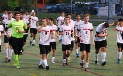The Watertown boys' soccer team thanks the fans -- highlighted by a  Jhonathan Inacio bow -- who traveled to Wakefield to see the Raiders' 5-1 win on Monday, Sept. 17, 2018.