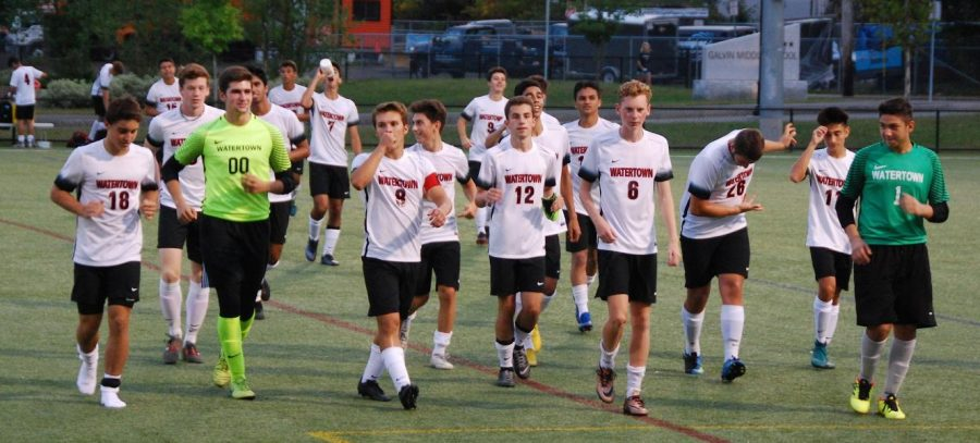 The+Watertown+boys%27+soccer+team+thanks+the+fans+--+highlighted+by+a++Jhonathan+Inacio+bow+--+who+traveled+to+Wakefield+to+see+the+Raiders%27+5-1+win+on+Monday%2C+Sept.+17%2C+2018.+