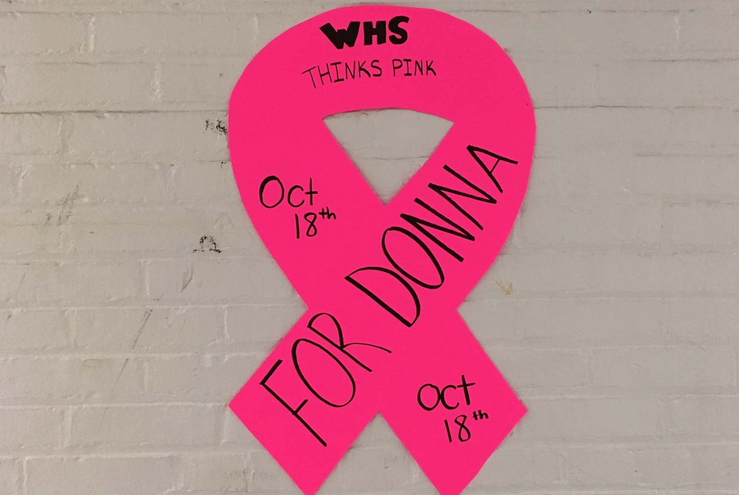 One of the posters promoting the Think Pink activities at Watertown High School during Homecoming Week, being Oct. 15, 2018.
