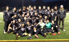 The Watertown boys' soccer team celebrates after winning the 2018 Middlesex League title with a 3-0 victory at Burlington on Wednesday, Oct. 24.