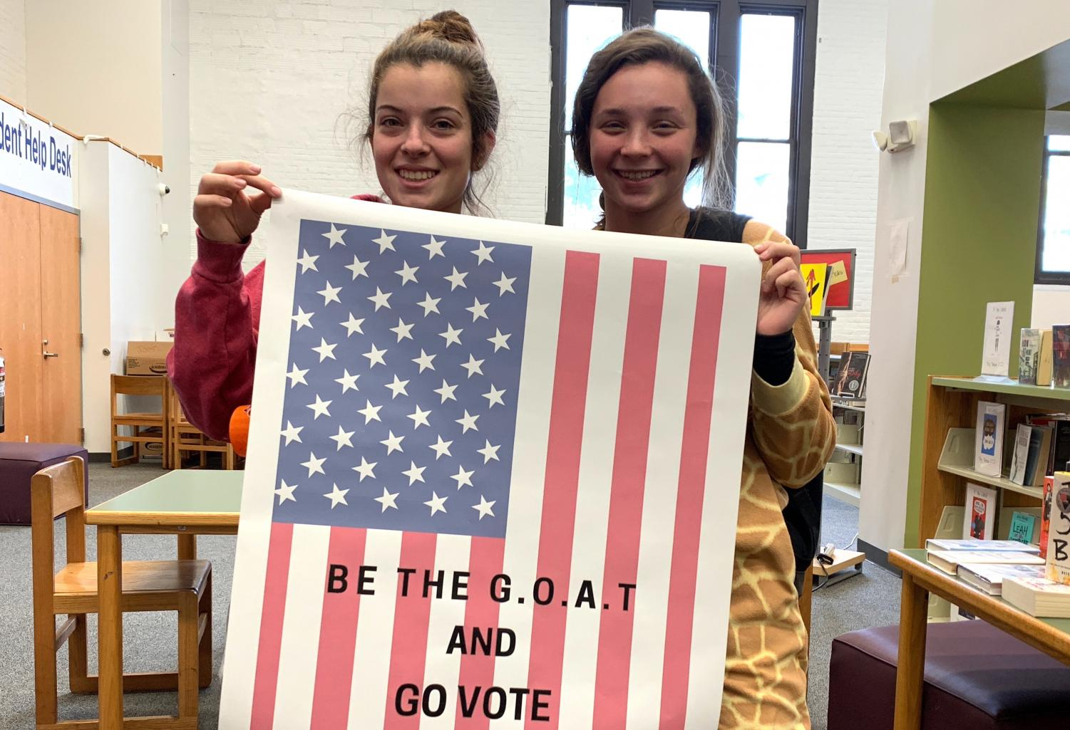 Watertown High students made posters in the Fab Lab in preparation of the school's mock election Nov. 2, 2018.