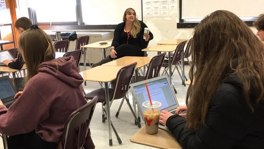 Kacie Kirkpatrick, director of the upcoming Watertown High School musical, talks with reporters from the Raider Times about the auditions for