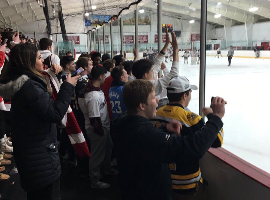 Watertown+High+hockey+fans+were+out+in+force+for+the+Raiders%27+4-1+tourney+victory+over+Wayland+on+Thursday%2C+Feb.+28%2C+2019%2C+at+John+A.+Ryan+Arena.