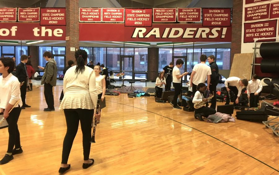 Musicians prepare for Bandarama 2019 in the Watertown High School gym on Tuesday, March 12.