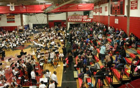 Musicians and teachers from all five schools in Watertown, Mass., prepare for Bandarama 2019 in the Watertown High School gym on Tuesday, March 12.