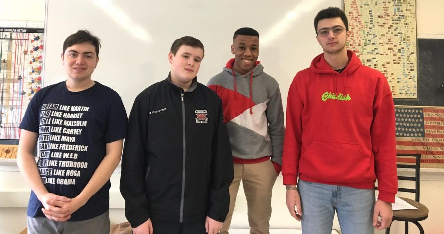 Watertown High students (left to right) Noah Ferraresso, Malcolm MacDonald, Brandon Alleyne, and Anthony Chebli will be among those competing for the title of Mr. WHS on Thursday, March 14, starting at 6 p.m. in the auditorium.