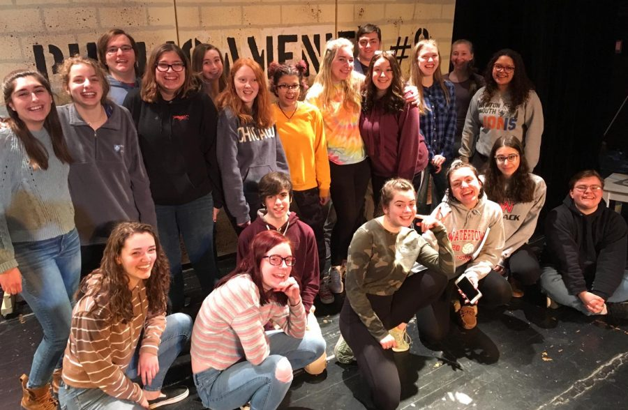 Members+of+the+cast+and+crew+of+the+musical+%22Urinetown%22+gather+before+a+recent+rehearsal.+%22Urinetown%22+will+be+performed+in+the+Watertown+High+School+auditorium+on+March+8%2C+9%2C+and+10.