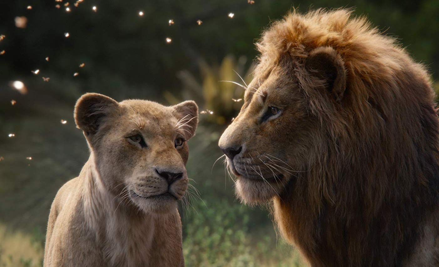 Nala (voiced by Beyoncé) and Simba (Donald Glover) star in the remake of
