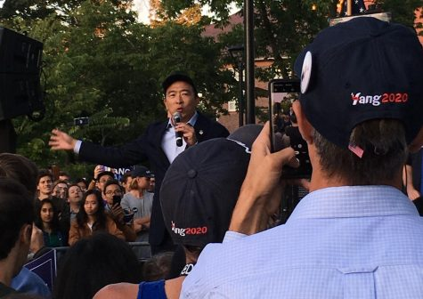Andrew Yang, one of the Democratic candidates of president, addresses the crowd on Cambridge Common during a campaign stop Monday, Sept. 16, 2019.