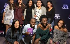 """Student reporters from six Boston-area schools -- including the Raider Times from Watertown High School -- pose with Nicole Kyoung-Mi Lambert (back row center), who played Anna of Cleaves in that night's production of """"Six"""" at American Repertory Theater."""