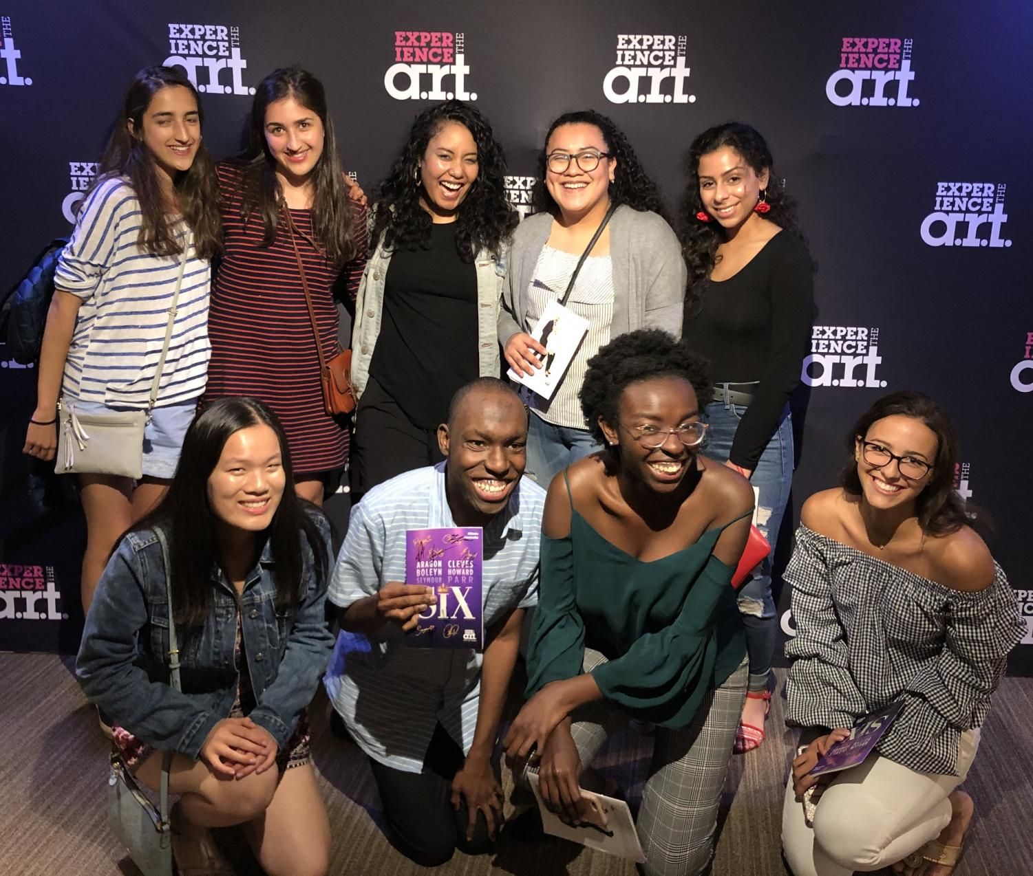 "Student reporters from six Boston-area schools -- including the Raider Times from Watertown High School -- pose with Nicole Kyoung-Mi Lambert (back row center), who played Anna of Cleaves in that night's production of ""Six"" at American Repertory Theater."