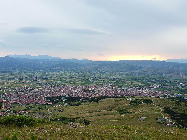 Korçë from the mountains.