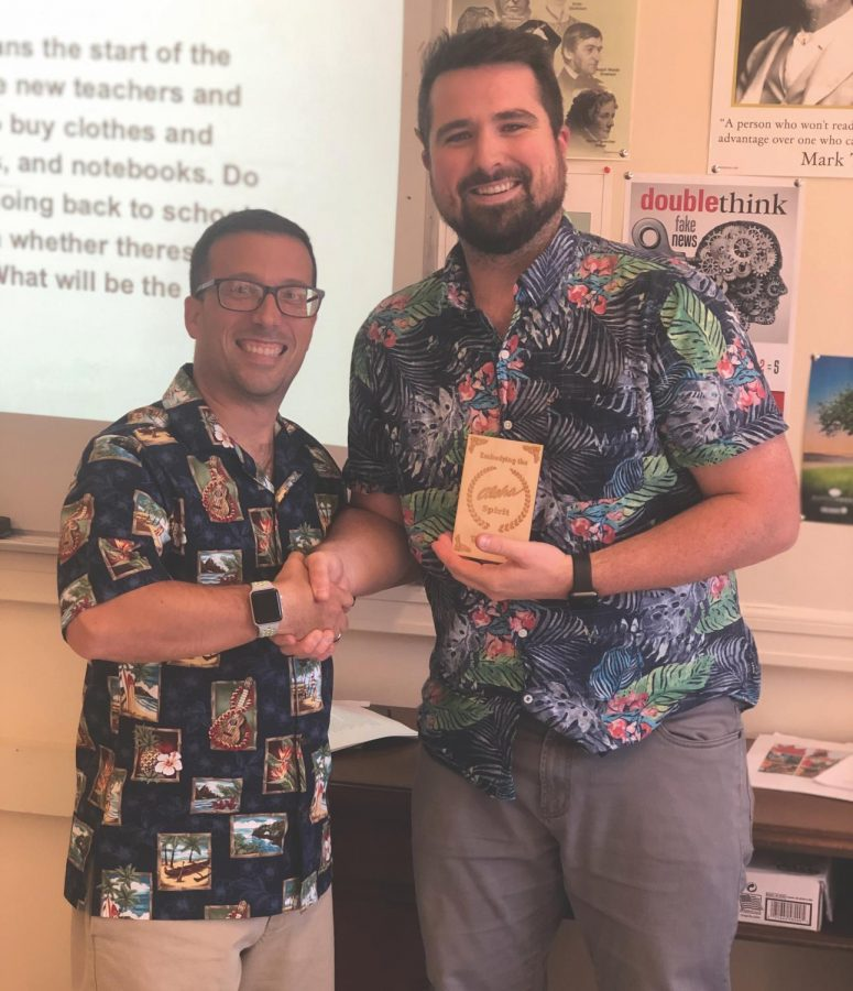 Aloha+Fridays+have+brought+a+sense+of+community+from+the+Hawaiian+Islands+to+the+halls+of+Watertown+High+School+this+fall%2C+thanks+to+history+teacher+David+Mastro+%28left%29.