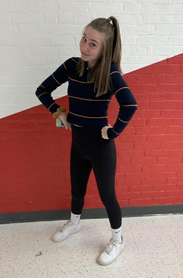 Ella MacDonald, a ninth-grader at WHS, dresses up for Throwback Thursday during Spirit Week 2019.
