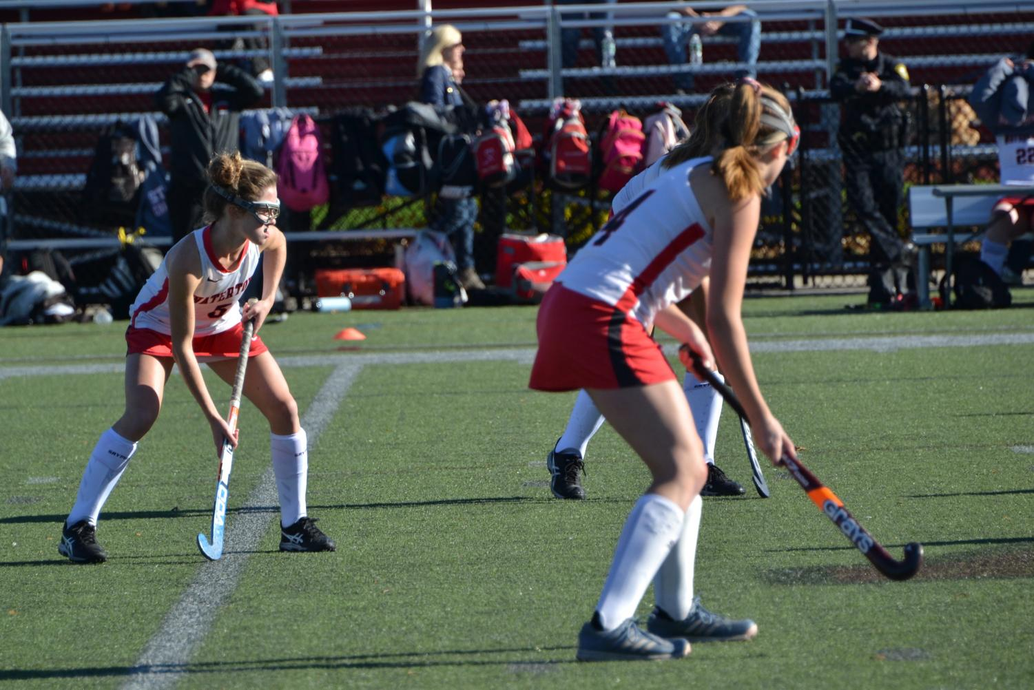 The+Watertown+High+School+field+hockey+team+prepares+to+play+Wayland+in+a+MIAA+Division+2+North+tournament+quarterfinal+on+Saturday%2C+Nov.+2%2C+2019%2C+at+Victory+Field+in+Watertown.+The+host+Raiders+won%2C+1-0%2C+in+overtime.+