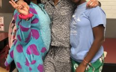 Jamie Fernandez, Leah Knipper-Davis, and Ivy Seek (left to right) on Pajama Day on Nov. 18, the first special day of Spirit Week 2019 at Watertown High School.