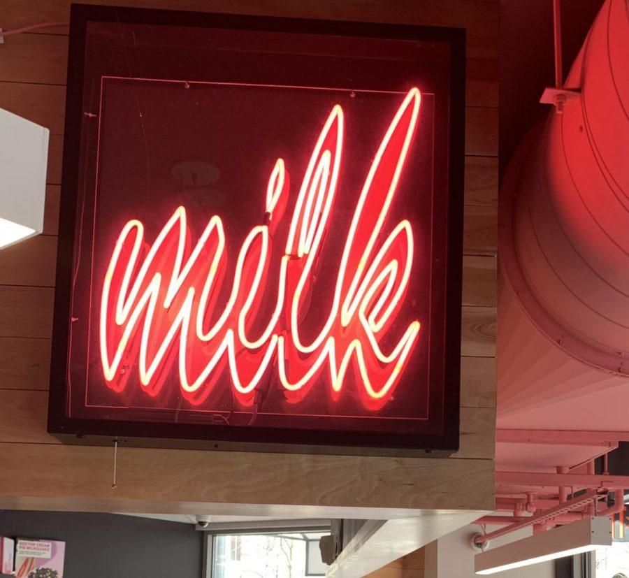 Milk Bar neon sign in Milk Bar Harvard Square