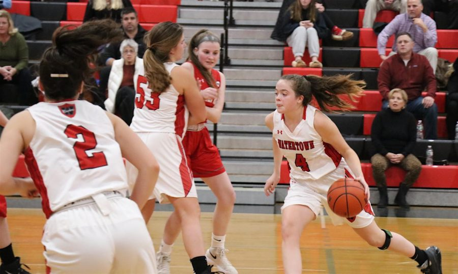 Ashley+Shaughnessy+%284%29+and+the+Watertown+High+girls%27+basketball+team+defeated+visiting+Wakefield%2C+43-42%2C+on+opening+night%2C+Dec.+13%2C+2019.