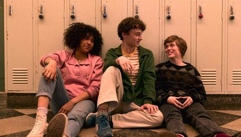 "Sofia Bryant (left), Wyatt Oleff (center), and Sophia Lillis star in ""I Am Not Okay with This."""
