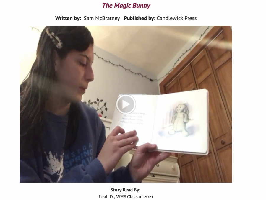 A screenshot captures Leah D'Amico, a Watertown High School junior, reading aloud