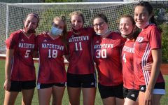 Jenna Petrie (5), Claire Fabian (18), Guilia Salvucci (11), Gacia Vosbigian (30), Allison Fitzpatrick (4), and Natalie Finton (16) at the Watertown High girls' soccer team's game against Wakefield on Oct. 10, 2020, at Victory Field in Watertown.