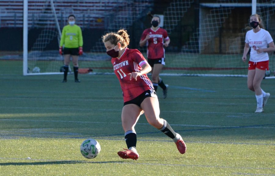 Senior Giulia Salvucci (11) in action during the Raiders' girls' soccer game with Melrose on Oct. 17, 2020, at Victory Field in Watertown.