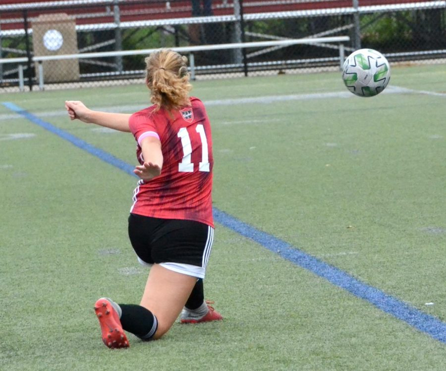 Raiders senior Giulia Salvucci (11) in action during the Watertown girls' soccer Senior Day game with visiting Burlington on Oct. 24, 2020, at Victory Field.