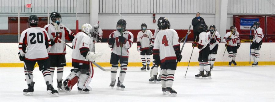 The Watertown High JV boys' hockey team celebrates after defeating Stoneham, 6-0, on Jan. 24, 2021, at John A. Ryan Arena.