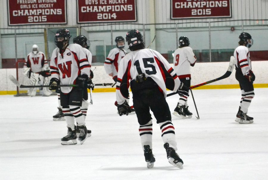 Daniel+Tattrie+%2815%29+and+the+Watertown+junior+varsity+boys%27+hockey+team+beat+Melrose%2C+10-1%2C+on+Jan.+26%2C+2021%2C+at+John+A.+Ryan+Arena.