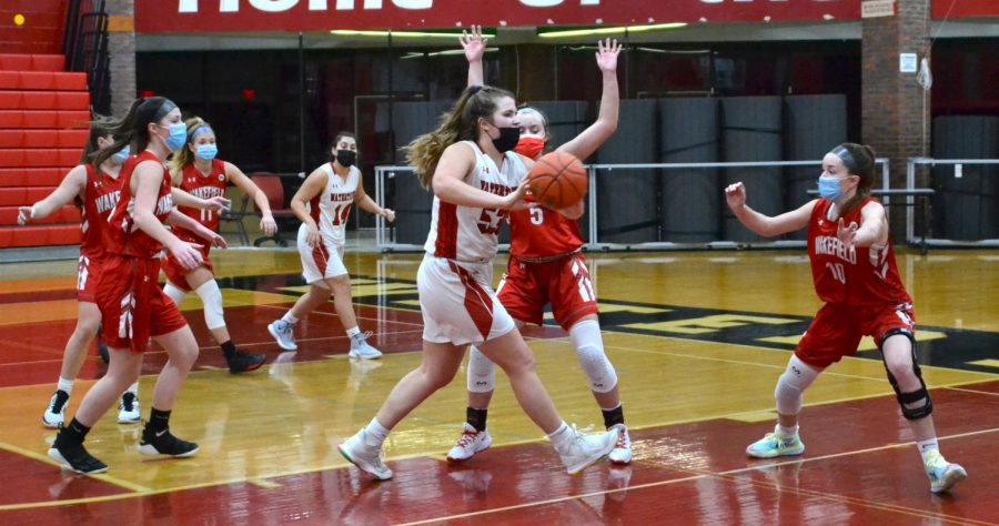 Taylor Lambo (53) and the Watertown girls' basketball game were shut down by visiting Wakefield, 52-30, on Wednesday, Jan. 27, 2021.