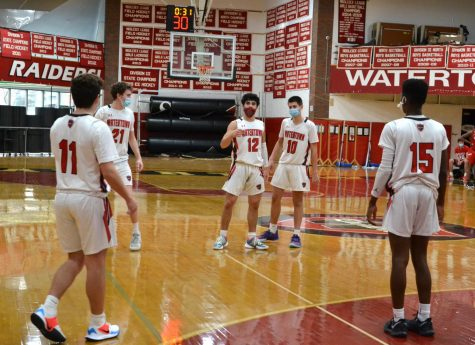 Joe Spinelli (11), Adam Patterson (21), Gabe Spinelli (12), Tyler Timperio (10), and Fred Labossiere (15) during the Raiders