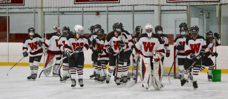 The Watertown High girls' hockey team prepares to play Belmont on Monday, Jan. 18, 2021, at John A. Ryan Arena.