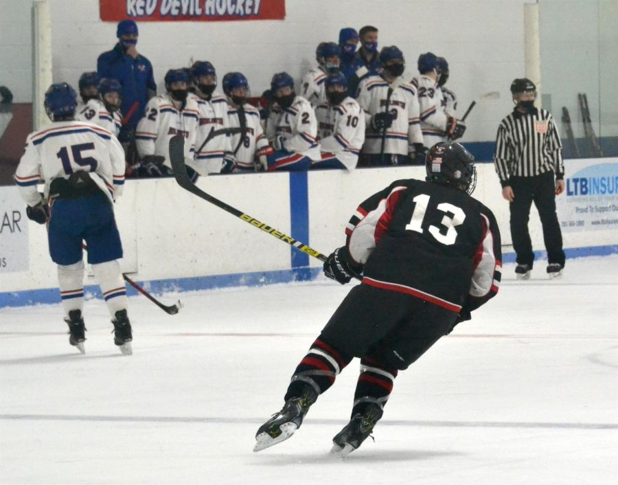 Junior Mason Andrade and the Watertown boys' hockey team fell to Burlington, 8-0, on Feb. 13, 2021, at Burlington Ice Palace.