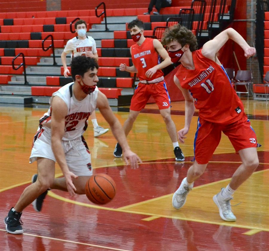The Watertown boys' basketball team fell to visiting Burlington, 60-54, on Monday, Feb. 15, 2021.